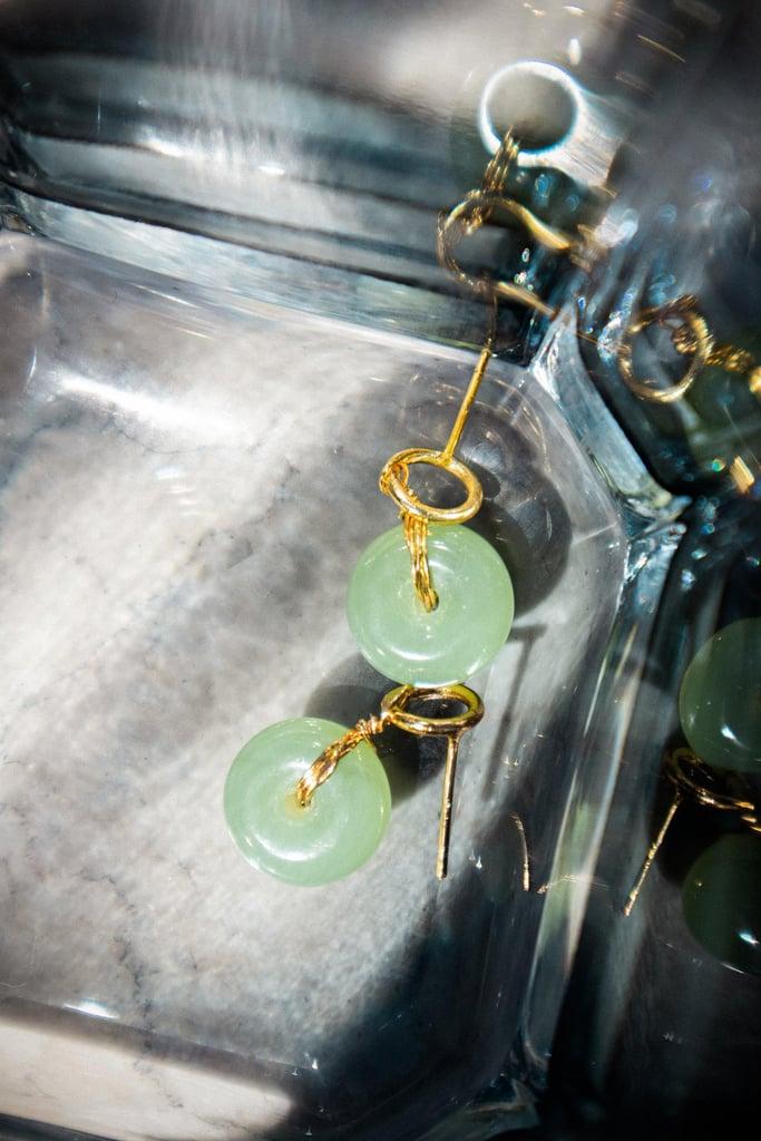 Seree Coin Green Jade Hollow Earrings