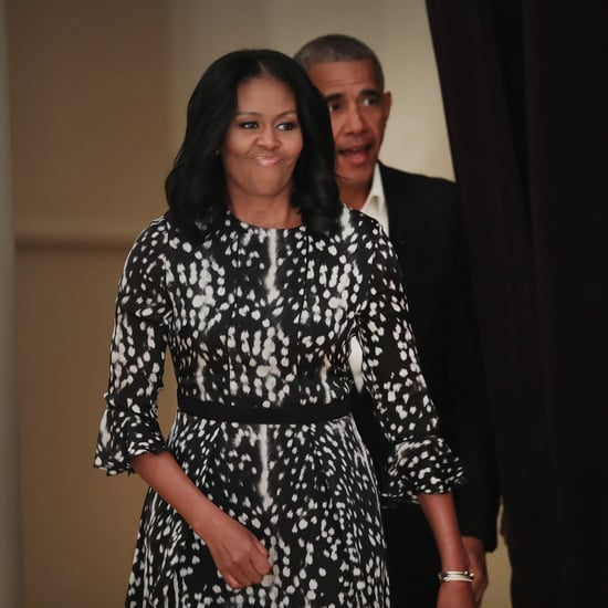 Michelle Obama Wears Black and White Dress
