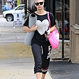 Kaley Cuoco — looking cute with her pixie cut and lovely top — strolled back to her car after a yoga class this week.