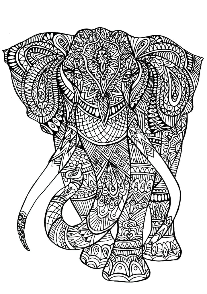 Get The Coloring Page Elephant Free Printable Adult