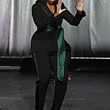 Michelle Wore an Embellished Dundas Suit With Side Slit Trousers Onstage