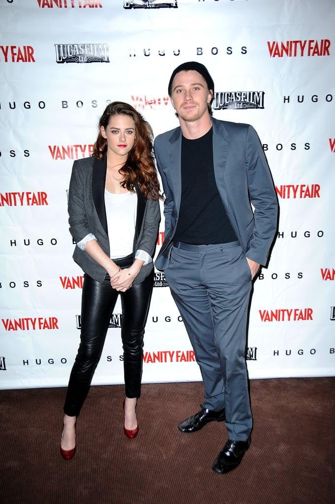 Kristen Stewart and Garrett Hedlund headed north for a special Vanity Fair screening of On the Road in Marin, CA last night. Kristen wore leather pants from H&M and a jacket by BCBG. The co-stars posed for photos and participated in a Q&A at the event, which was held at George Lucas' Skywalker Ranch. Producer Francis Ford Coppola was on hand as was director Walter Salles. Kristen and Garrett are ramping up promotion for their film. They got together for another screening in LA on Thursday after Kristen dressed up for an appearance at the Academy of Motion Pictures Arts and Sciences' fourth annual Governors Awards last weekend. Her schedule isn't slowing down either, since Kristen is expected to attend the 12-12-12 Hurricane Sandy Fundraiser at Madison Square Garden next week.
