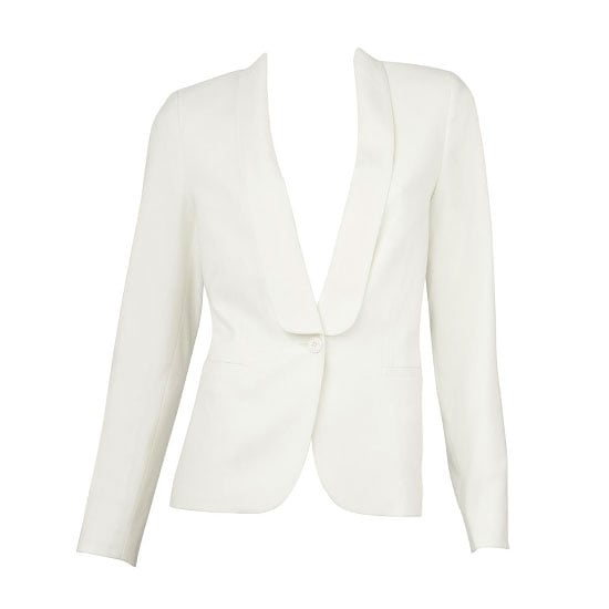 A classic white blazer is the flat-out easiest way to work this colour trend. Throw on over jeans, over printed shifts, over silk shorts, over anything!  Jacket, $129.95, Sportsgirl