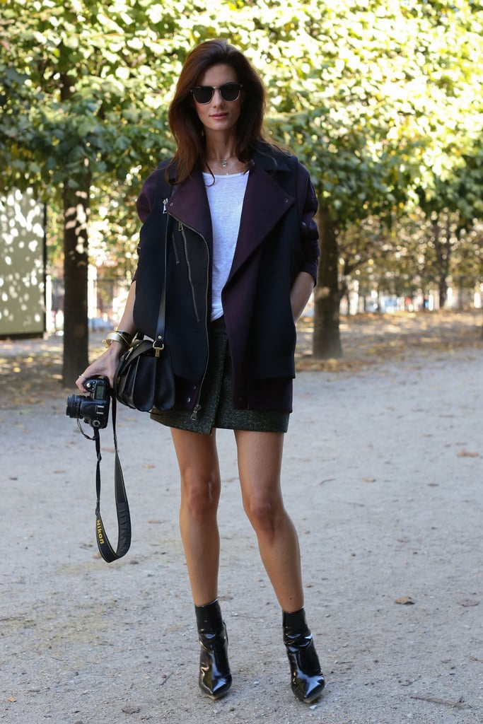 A slouchy moto jacket gave a tweed skirt a masculine edge.