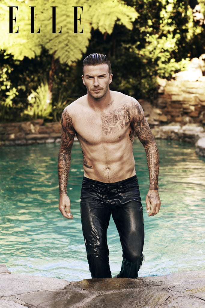 David Beckham got shirtless for Elle UK.