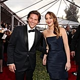A bush didn't get in the way of Bradley Cooper and Jennifer Lawrence saying hello at January's SAG Awards.