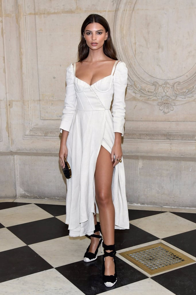 Emily Ratajkowski Wearing White Brock Collection Dress