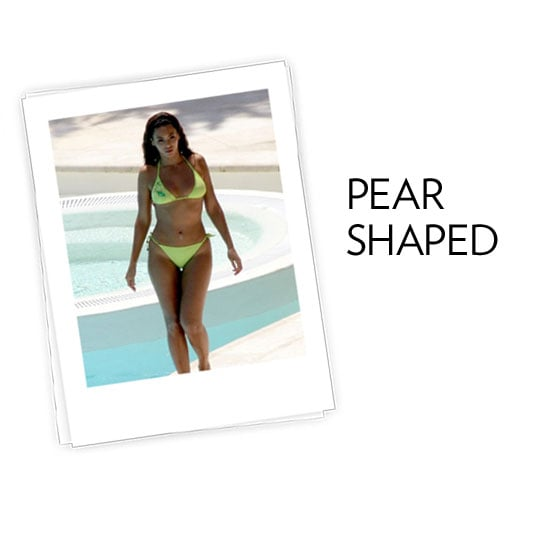The Pear Shape: You're curvy at the hips and thighs and smaller on top, like Beyoncé, Jennifer Lopez, and Jennifer Love Hewitt. What to look for: The key to the perfect swimsuit is balancing your proportions and getting the coverage you need for your bottom half.  Tips and tricks from Audrey Jimenez, fit and style expert for Everything But Water:  For extra coverage on the thigh, look for a clean skirted bottom, a feminine look that offers more coverage. To flatter thighs, a skirted bottom should fall just below the largest part of the upper leg. A plunging neckline or eye-catching top draws the eye upward, minimizing the bottom.  In this photo: Beyoncé Knowles