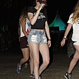 Kristen Stewart wore a pair of cutoffs with a crop top to the second weekend of Coachella.