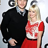 Anna Farris and Chris Pratt had fun together on the black carpet.