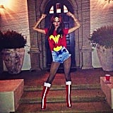 Alessandra Ambrosio got a head start on Halloween with a sexy Wonder Woman costume. Source: Instagram user alessandraambrosio