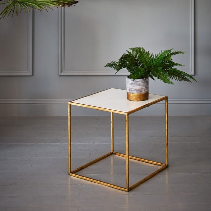 Graham And Green Odell Gold And Marble Square Table Chic