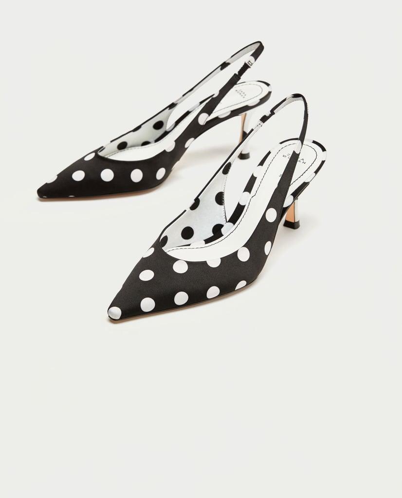 Zara Polka Dot High Heel Court Shoes