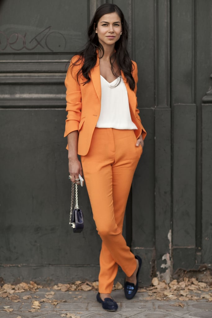 Unexpected suiting popped in a pretty shade of orange.