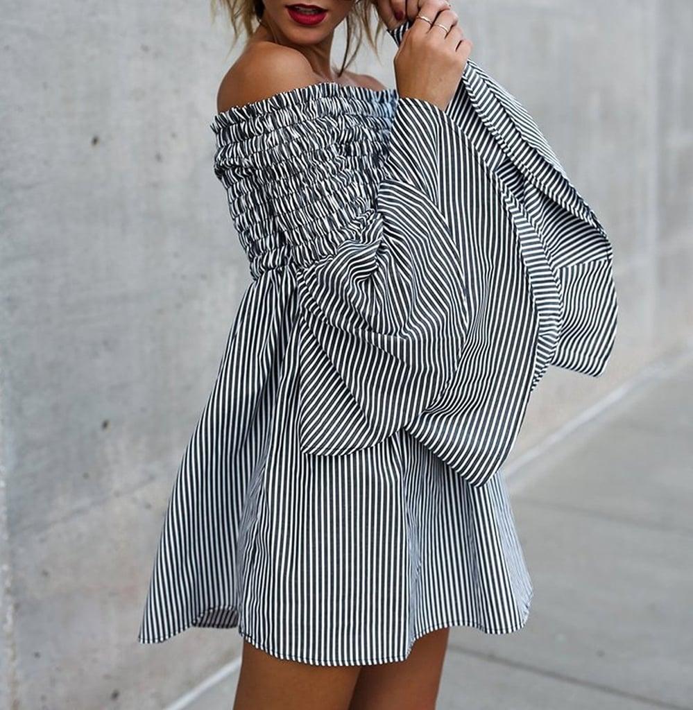 Gobought Flare-Sleeve Dress