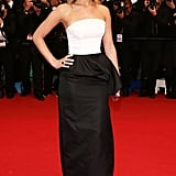 Jennifer Lawrence got glamorous in a Dior dress to hit the red carpet at the Jimmy P. premiere.