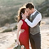 Red Amazon Dress For Engagement Photo Shoot