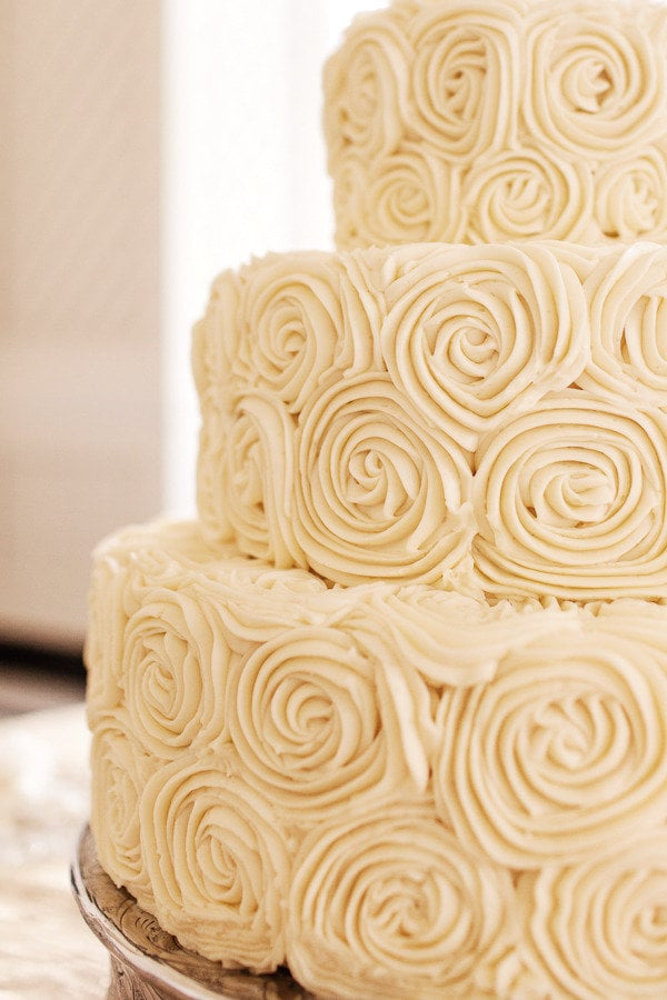 This gorgeous cake proves that piped roses are just as classic as the real deal.  Photo by Volatile Photography via Style Me Pretty