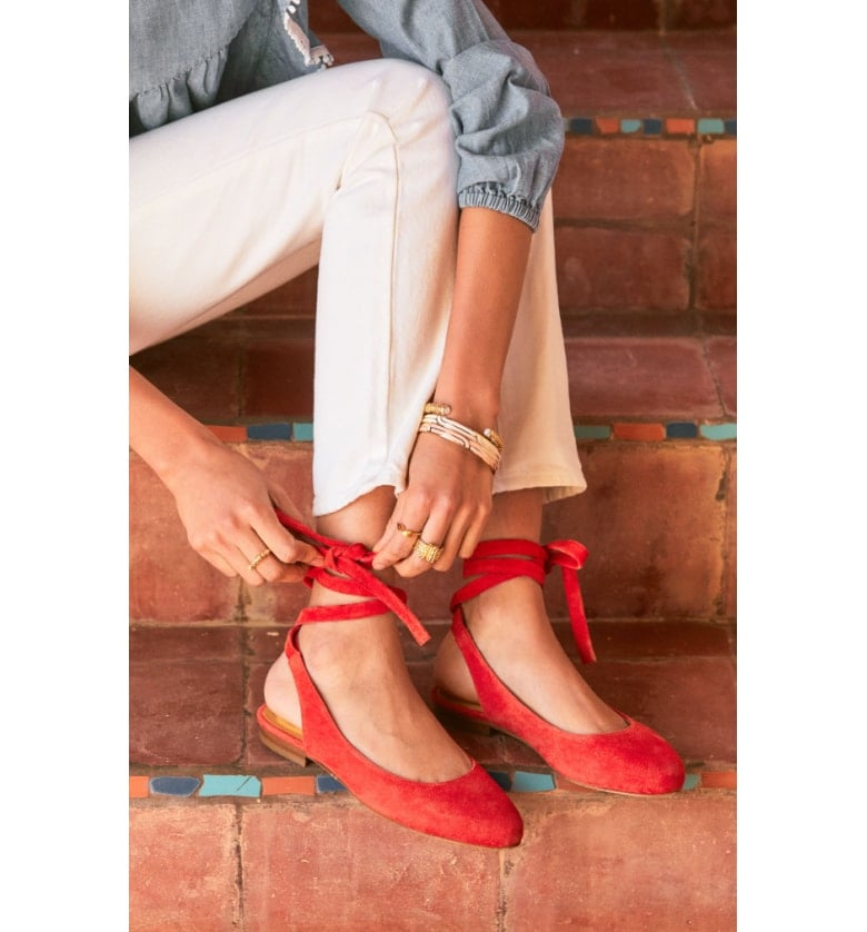 Sézane Nina Ballerina Ankle Wrap Flats