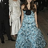 Bee wore a blue printed ball gown that flared to the floor at the Met Gala in 2005.