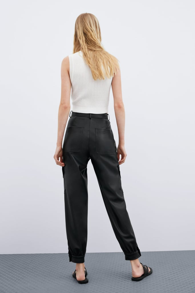 d6f82595 Zara Faux Leather Pants With Pockets | Leather Pants Outfit Ideas ...
