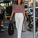 Miranda Kerr wore high-waisted white pants in NYC.