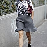 Charcoal ruffles prove that shorts don't have to be boring.