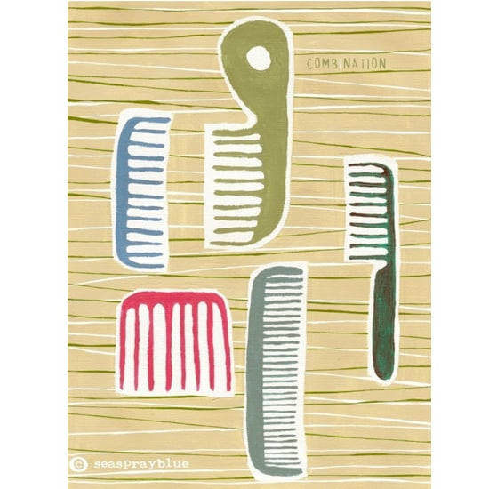 Combs and brushes arranged just so, in this print by German artist Katrin Schwulst.