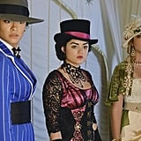 Complementing hats topped off Emily, Aria, and Hanna's party style. Photos courtesy of ABC Family