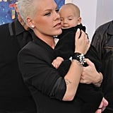 Pink cuddled Willow Hart at the Happy Feet Two premiere.