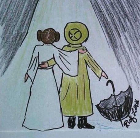 Todd Fisher Drawing of Carrie Fisher and Debbie Reynolds
