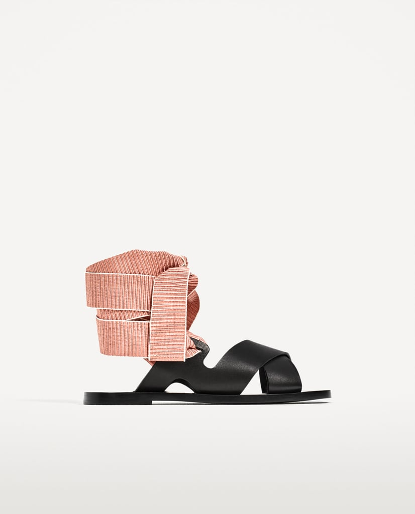 Leather Slides With Interchangeable Ribbons
