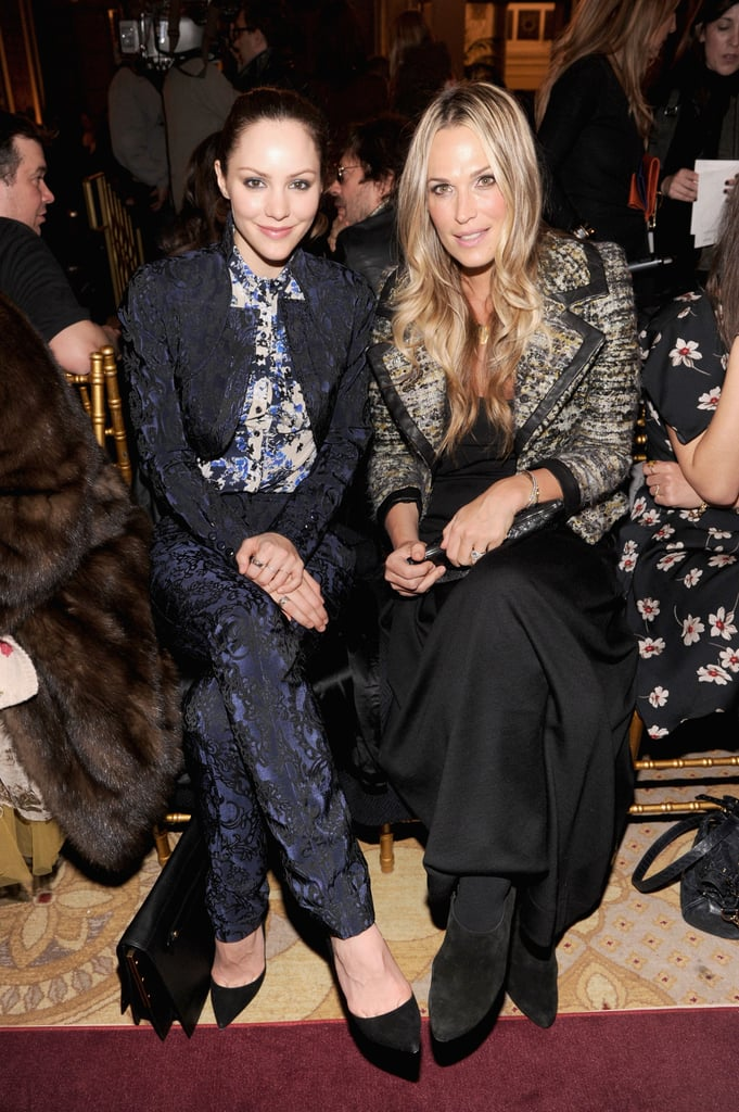 Katharine McPhee and Molly Sims checked out Zac Posen's collection at New York Fashion Week in February.