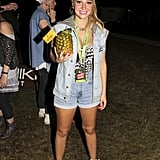 Tulisa opted for double denim in the VIP section.
