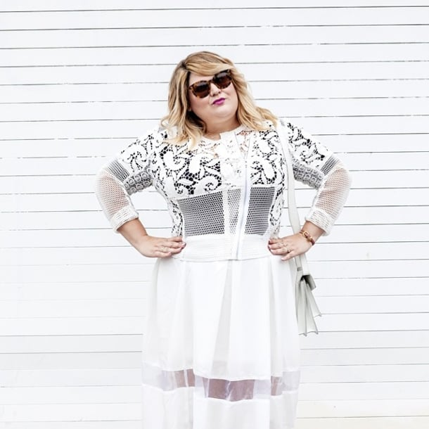 Making the sheer trend work in real life, Nicolette Mason added a black tee to her delicate all-white ensemble. We only ask, unless you're the bride, please don't wear this one to a wedding. Source: Instagram user nicolettemason