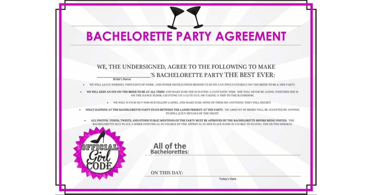 Bachelorette Party Agreement Free Bachelorette Party