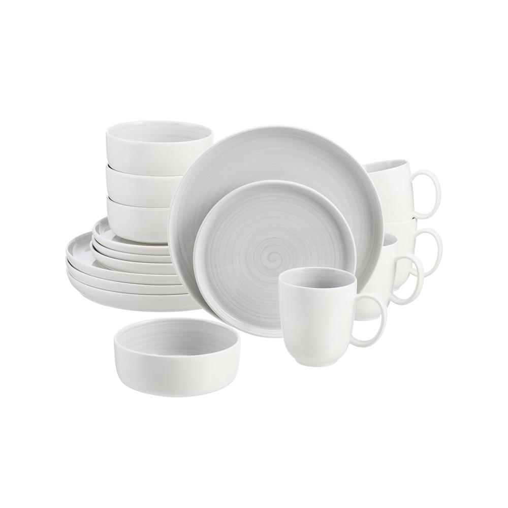 Home Decorators Collection Chastain 16-Piece Swirl Shadow Gray Porcelain
