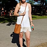 Birkenstocks still reign supreme at music festivals! So do crocheted dresses and bucket bags, like this tan one from Baggu.