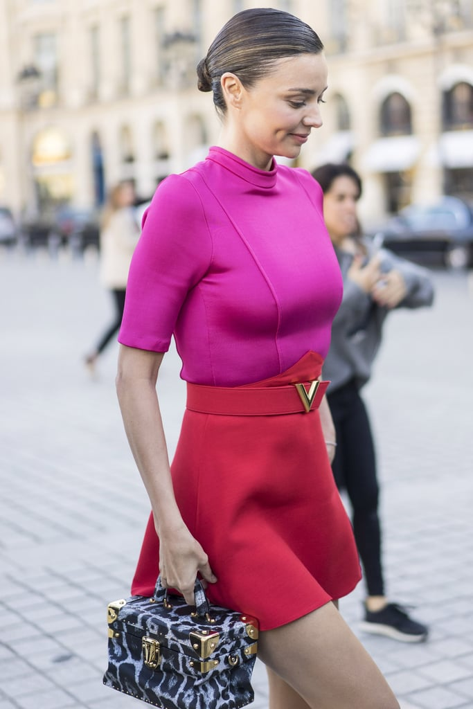 Miranda Kerr wearing Louis Vuitton at Paris Fashion Week