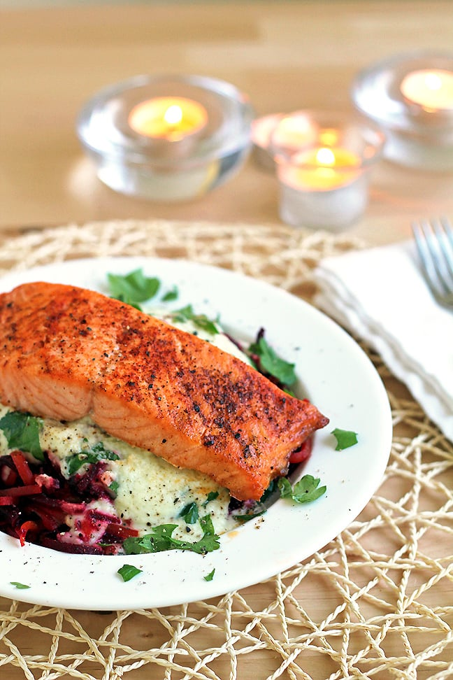 """Beet """"Pasta"""" With Lemon-Crème Sauce and Broiled Salmon"""