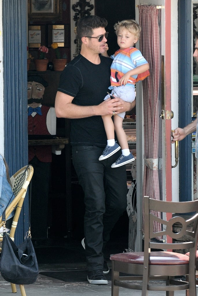 Robin Thicke had lunch with his son, Julian Fuego, in LA.