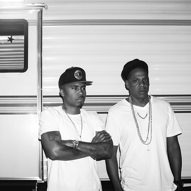 Jay Z and Nas matched in white t-shirts.  Source: Instagram user beyonce