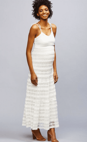 With endless feminine details and an ultrarefined texture, A Pea in the Pod's Lace Maternity Maxi Dress ($110, originally $148) is one we plan on living in.