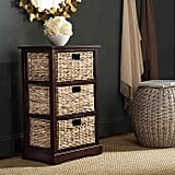 Safavieh Halle 3-Wicker-Basket Storage Side Table