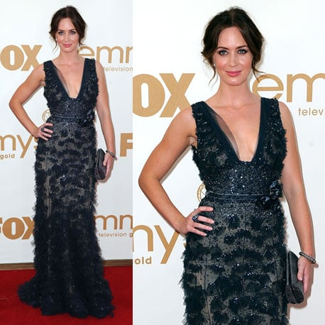 Pictures of Emily Blunt in sheer Elie Saab Dress on the red carpet at the 2011 Emmy Awards