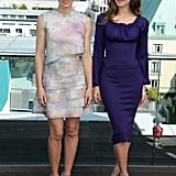 Costars Jessica Biel and Kate Beckinsale posed together at the Total Recall photocall in Berlin.
