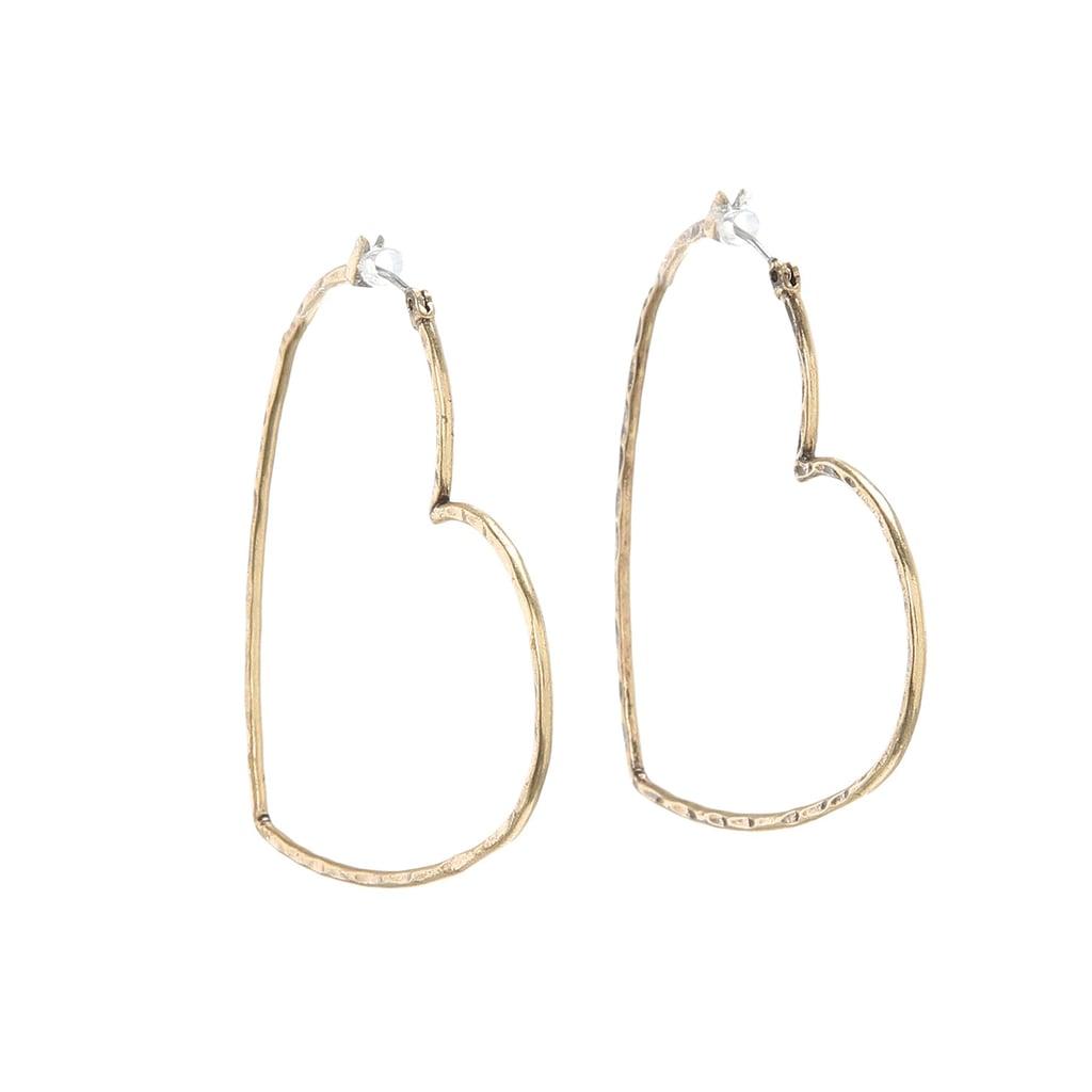 Lucky Brand Heart Hoop Earrings