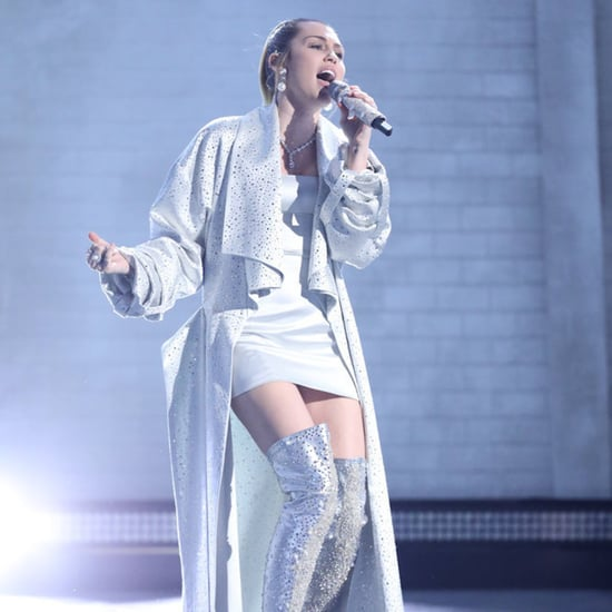 Miley Cyrus Silver Thigh High Boots on The Voice