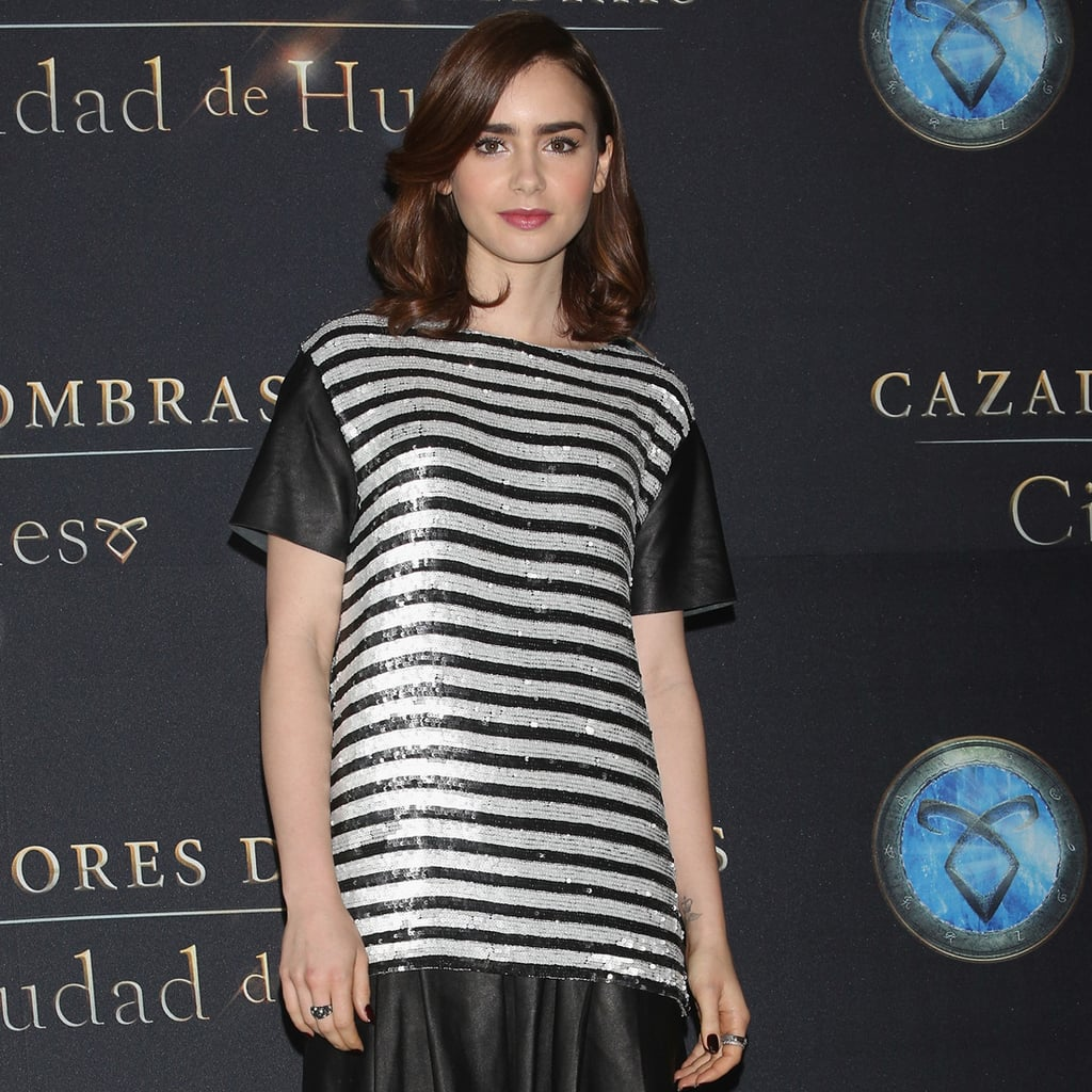 Lily Collins Brings Stripes and Sequins to the Latest Stop of Her Promo Tour