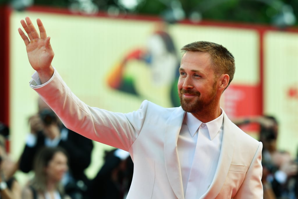 For anyone anxious that they hadn't seen a Ryan Gosling appearance in far too long, now is the time to relax. The Blade Runner 2049 actor has arrived at the Venice Film Festival to promote his new film First Man (and ease your stress, no doubt), and let's just say the appearance was worth the wait. The actor looked suave in a burgundy suit and sunglasses on Wednesday, playfully outshining his costars Olivia Hamilton, Claire Foy, and Jason Clark. He then changed into a white for the opening ceremony.  Joining forces with La La Land writer and director Damien Chazelle once again, Ryan takes on the role of Neil Armstrong in First Man, circling the astronaut's extraordinary life and legendary space mission. Now inhale deeply, and read on for all the therapy you need before the film hits theaters on Oct. 12.      Related:                                                                                                                                Ryan Gosling and Jimmy Kimmel Tried Being Astronauts Together — We Can't Stop Giggling